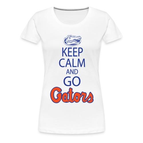 Keep Calm London Gator Club (White or Grey) (Women's) - blue lettering - Women's Premium T-Shirt
