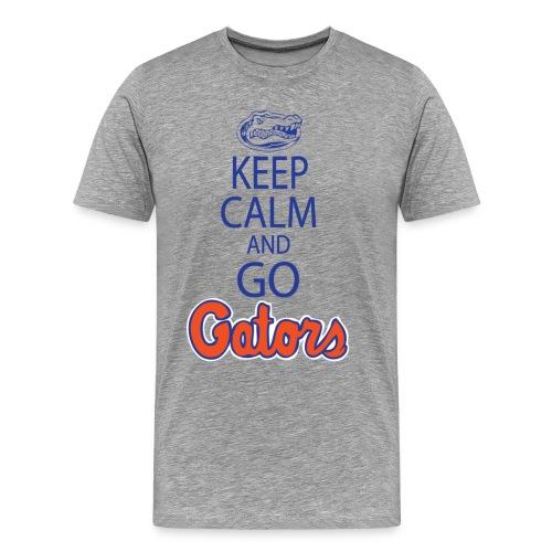 Keep Calm, *No Gator Club logo* (Grey or White) - blue lettering - Men's Premium T-Shirt