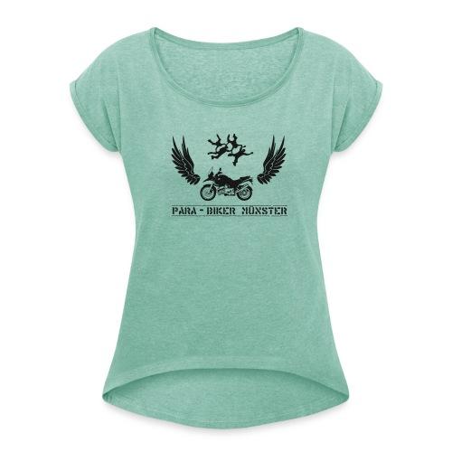 Damenshirt mit gerollten Ärmeln im Boyfriendstil - Frauen T-Shirt mit gerollten Ärmeln