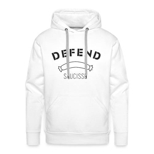Sweat-shirt DEFEND SAUCISSE   Version noire sur blanc - Sweat-shirt à capuche Premium pour hommes
