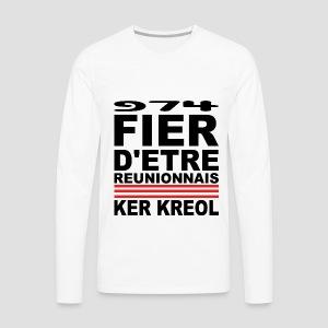 Tee shirt manches longues Premium Homme Fier d'etre reunionnais - T-shirt manches longues Premium Homme
