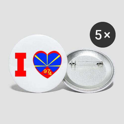 Badge moyen 32 mm i love la réunion Lo Mahaveli - Lot de 5 moyens badges (32 mm)