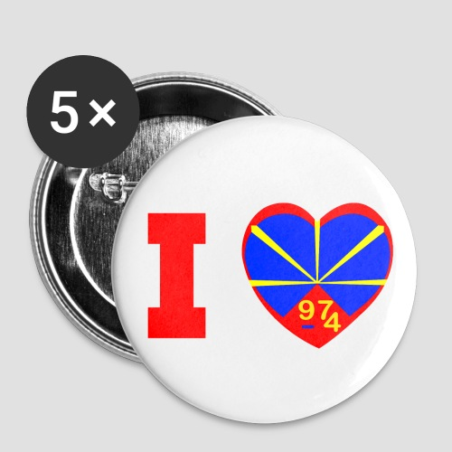 Badge moyen 32 mm i love la réunion Lo Mahaveli - Badge moyen 32 mm