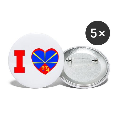 Badge moyen 32 mm i love la réunion Lo Mahaveli - Lot de 5 moyens badges (32 mm)