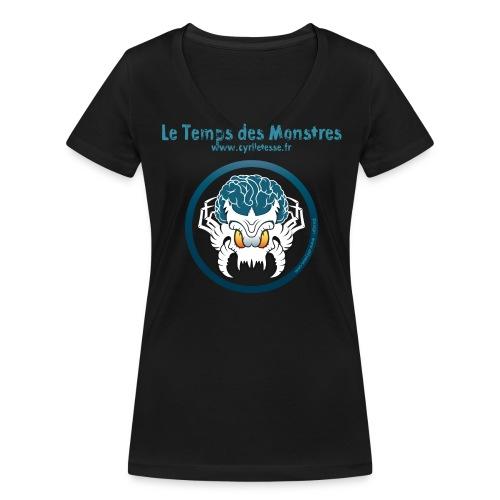 Tshirt Noir Femme le Temps des monstres - T-shirt bio col V Stanley & Stella Femme