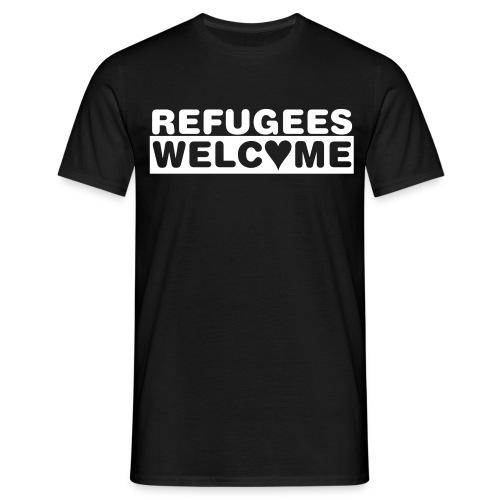 Männer T-Shirt - Zeige Deine Solidarität mit Flüchtlingen, lebe die Willkommenskultur - Refugess Welcome - Flüchtlinge willkommen!