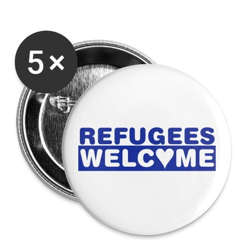 Refugees Welcome - 5 Buttons (blau) - Buttons groß 56 mm