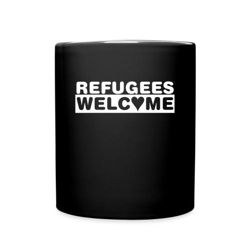 Refugees Welcome - Becher (schwarz) - Tasse einfarbig