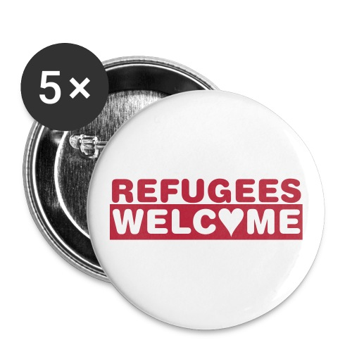 Refugees Welcome - 5 Buttons (rot) - Buttons groß 56 mm