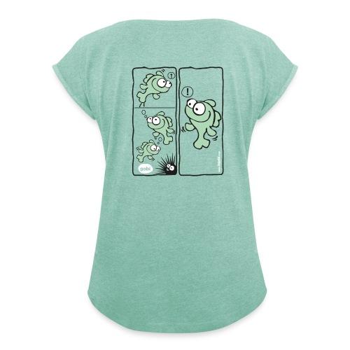 Femme modèle 4 vert - T-shirt à manches retroussées Femme