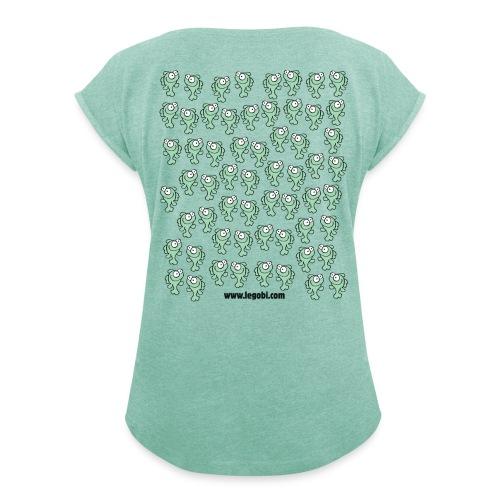 Femme modèle 2 vert - T-shirt à manches retroussées Femme