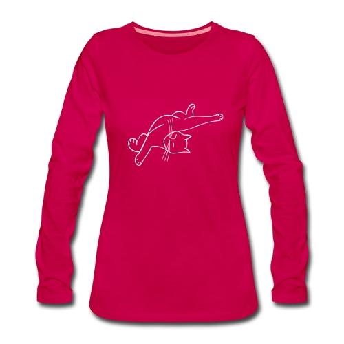 Samtig gedruckte Räkelkatze auf Longsleeve - Frauen Premium Langarmshirt