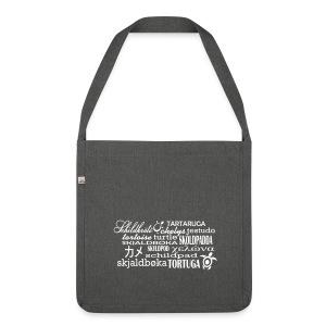 Schildkröte in Sprache - retro Tasche - Schultertasche aus Recycling-Material