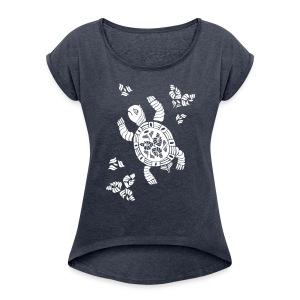 Indian Turtle  - Frauen T-Shirt mit gerollten Ärmeln