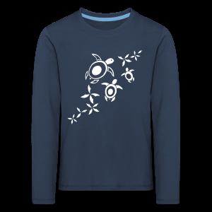blumige Meeresschildis T-Shirt - Kinder Premium Langarmshirt