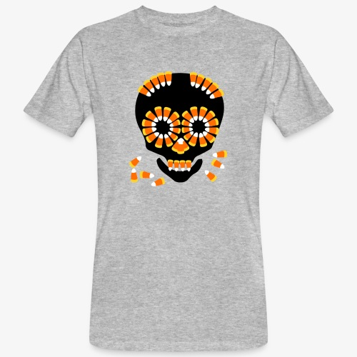 Halloween Candy Corn Skull by patjila - Men's Organic T-Shirt