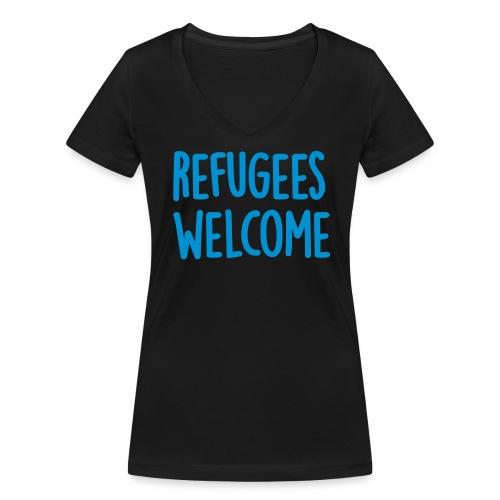 Refugees Welcome - Vrouwen bio T-shirt met V-hals van Stanley & Stella