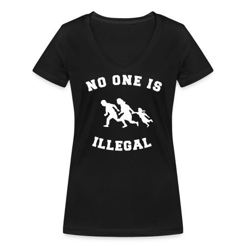 No One Is Illegal - Vrouwen bio T-shirt met V-hals van Stanley & Stella