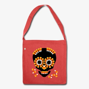Halloween Candy Corn Skull by patjila - Shoulder Bag made from recycled material