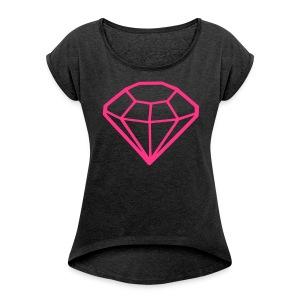 PINK // T-Shirt - Vrouwen T-shirt met opgerolde mouwen