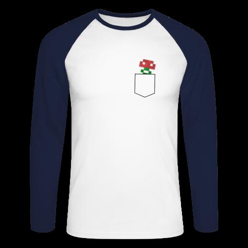 BDWilZ Jongens Shirt - Blauw-Wit (Bloemzakje) - Mannen baseballshirt lange mouw