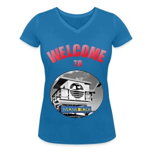 T-shirt Girl Welcome to Miami - T-shirt col V Femme