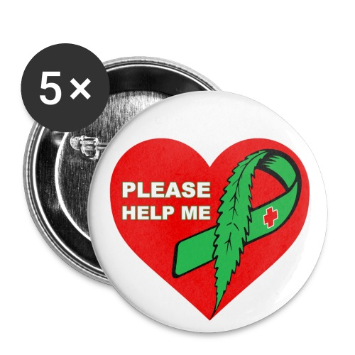 Please help me , Kampagne badge 56 mm. - Buttons/Badges stor, 56 mm (5-pack)