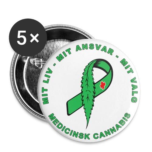 Medicinsk Cannabis Sløjfe 32mm - Buttons/Badges mellemstor, 32 mm (5-pack)