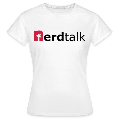 Frauen T-Shirt, weiß - Schriftzug rot/schwarz - Frauen T-Shirt