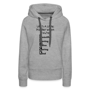 Life Womens Hoodie - Black Print (Choose Your Colour) - Women's Premium Hoodie