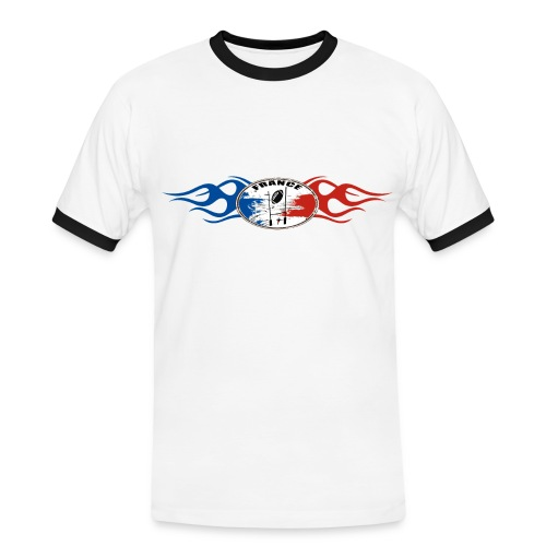Rugby - France logo flaming tricolore - T-shirt contrasté Homme