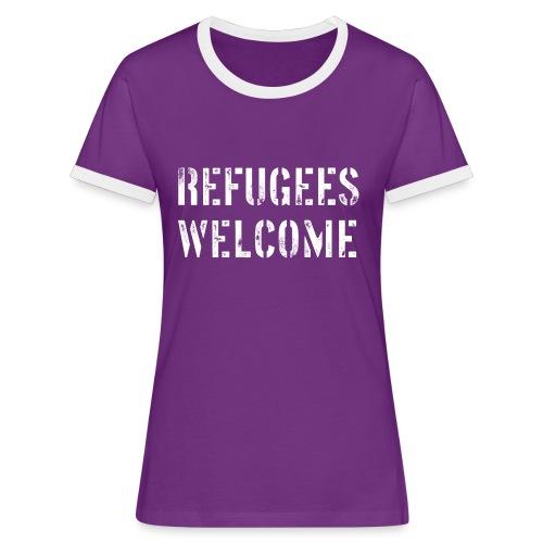 Stencil Refugees Welcome - Frauen Kontrast-T-Shirt