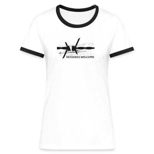 Barbwire Refugees Welcome Shirt - Frauen Kontrast-T-Shirt