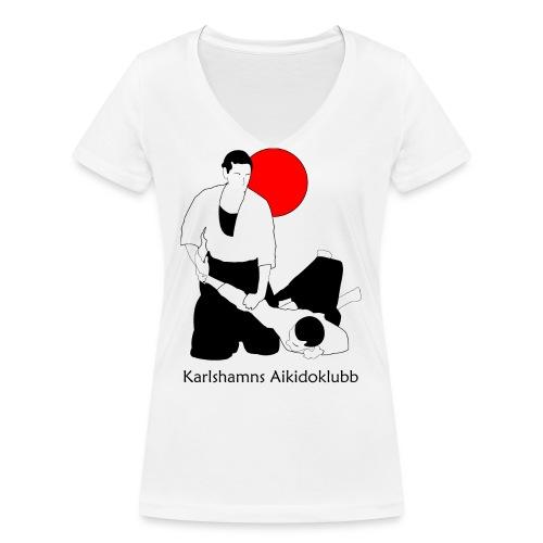 T-shirt i v-ringad dammodell med logga fram - Ekologisk T-shirt med V-ringning dam från Stanley & Stella