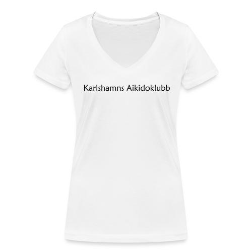 T-shirt i v-ringad dammodell med logga på ryggen - Ekologisk T-shirt med V-ringning dam från Stanley & Stella