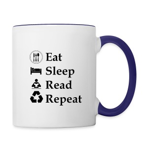 Eat Sleep Read Repeat - Tasse zweifarbig