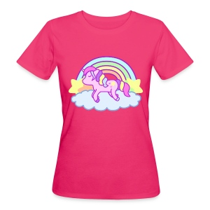 T-shirt bio Rainbow Unicorn rose néon - T-shirt bio Femme