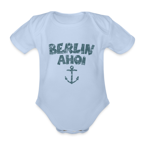 Berlin Ahoi Vintage Blau Babybody - Baby Bio-Kurzarm-Body