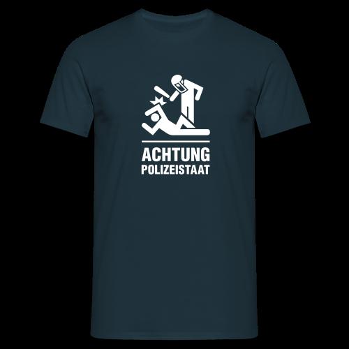 Achtung Polizeistaat einfarbig - Männer T-Shirt