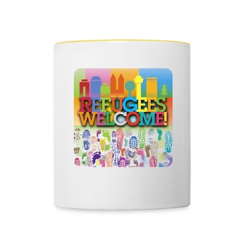 Refugees-Welcome-Tasse - Tasse zweifarbig