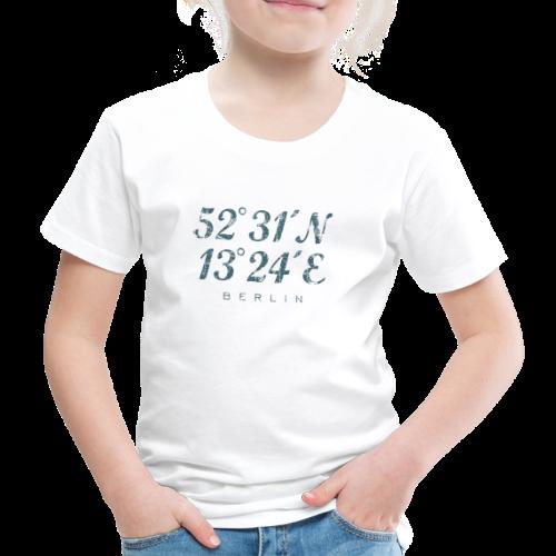 Berlin Koordinaten (Vintage/Blau) Kinder T-Shirt - Kinder Premium T-Shirt