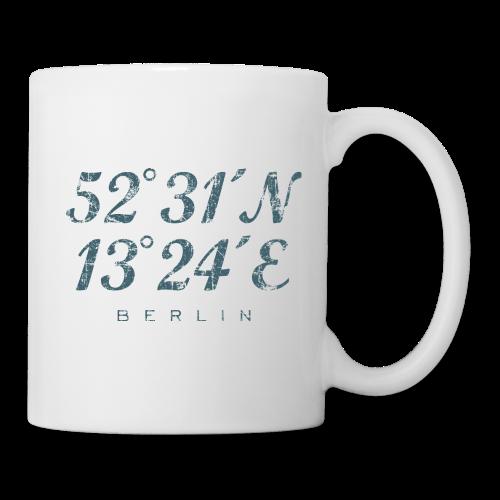 Berlin Koordinaten Tasse (Weiß/Blau) - Tasse