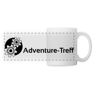 Panoramatasse - Zahnrad-Logo und Adventure-Treff-Schriftzug. Um die Tasse herum platziert.