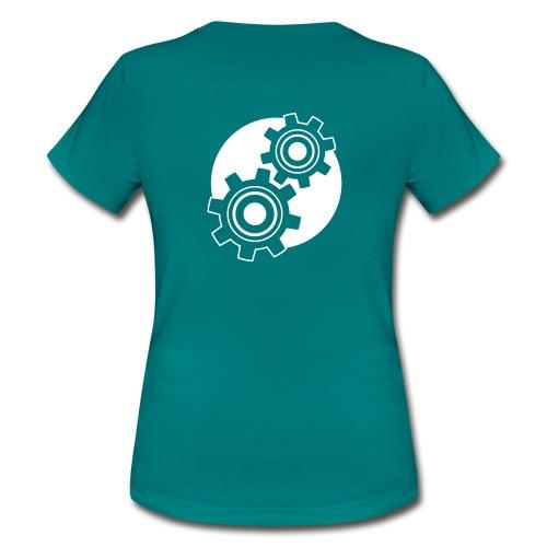 Frauen T-Shirt - Unser Zahnrad-Logo als Designmuster und Wiedererkennungsmerkmal! Zentriert.