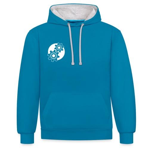 Kontrast-Hoodie - Unser Zahnrad-Logo als Designmuster und Wiedererkennungsmerkmal! Linksbündig.