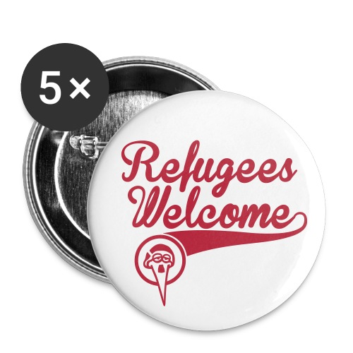 Refugees welcome – Storch Heinar - Buttons klein 25 mm (5er Pack)