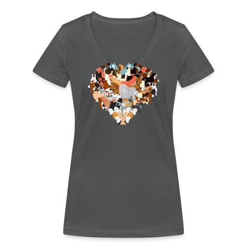 We love dogs - Frauen Bio-T-Shirt mit V-Ausschnitt von Stanley & Stella