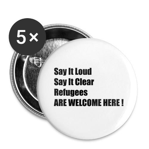 Refugees welcome / Flüchtlinge willkommen - Buttons groß 56 mm
