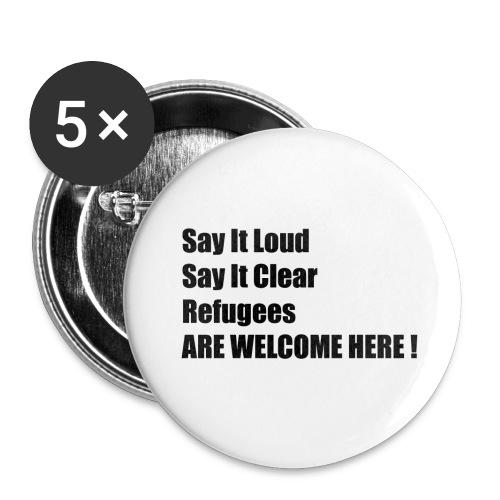 Refugees welcome / Flüchtlinge willkommen - Buttons klein 25 mm