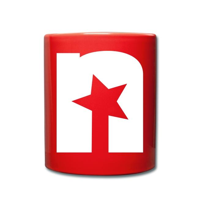 Tasse, rot - Logo weiß